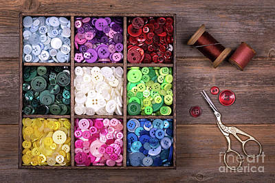 Bobbins Photograph - Colourful Buttons With Needle, Thread And Scissors by Jane Rix