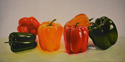 On Cavas Painting - Colourful Capsicums by Shilpa Adavatkar