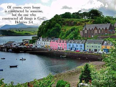 Photograph - Colourful Cottages At Portree With Scripture by Joan-Violet Stretch