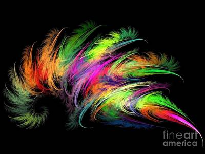 Computer Design Digital Art - Colourful Feather by Klara Acel