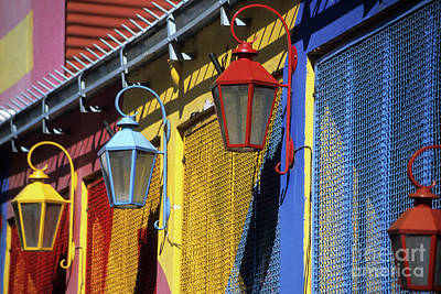 Wire Mesh Photograph - Colourful Lamps La Boca Buenos Aires by James Brunker