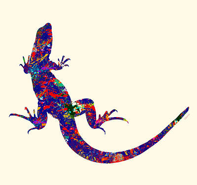 Newts Painting - Colourful Lizard by Bamalam  Photography