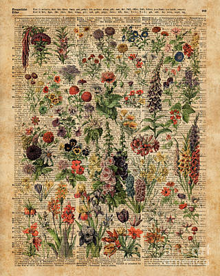 Tapestries - Textiles Mixed Media - Colourful Meadow Flowers Over Vintage Dictionary Book Page  by Jacob Kuch