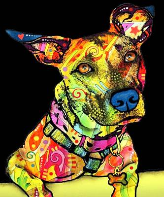 Pitbull Drawing - Colourful Pit Bulls Dog Colourful by Amazigh