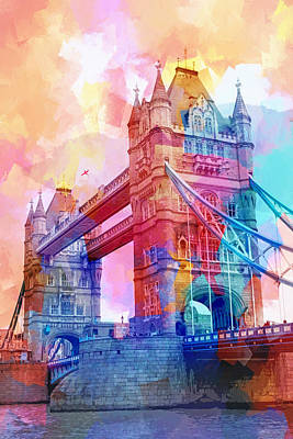 Abstract Fields Digital Art - Colourful Tower Bridge by Lutz Baar