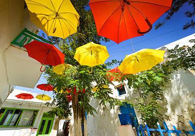 Photograph - Colourful Umbrellas Greek Islands by Carmen Tosca