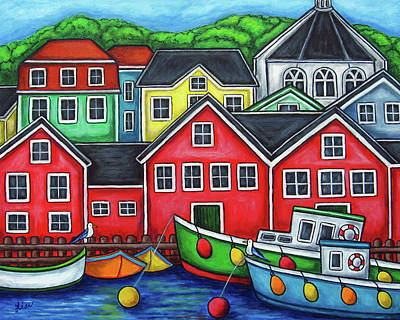 Nova Scotia Wall Art - Painting - Colours Of Lunenburg by Lisa  Lorenz