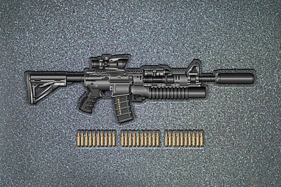 Colt   M 4 A 1   S O P M O D  Carbine With 5.56 N A T O Ammo On Gray Polyurethane Foam Original by Serge Averbukh
