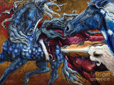 Painting - Colts Revolving Together by Jonelle T McCoy