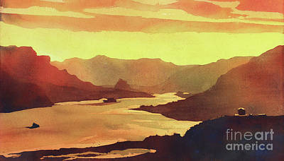 Poured Watercolours Painting - Columbia Gorge Scenery by Ryan Fox