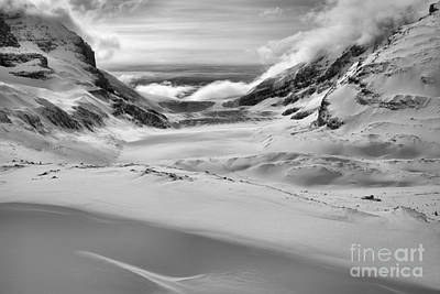 Photograph - Columbia Icefield Shadows In The Snow Black And White by Adam Jewell