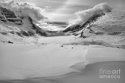 Photograph - Columbia Icefield Winter Landscape Black And White by Adam Jewell