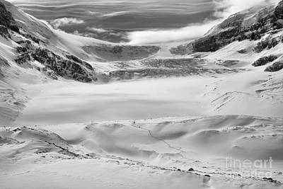 Photograph - Columbia Icefield Winter Wonderland Black And White by Adam Jewell