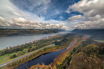 Sky Photograph - Columbia River Gorge In Autumn by David Gn