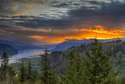 Stream Photograph - Columbia River Gorge Sunrise by David Gn