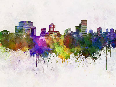 Duluth Painting - Duluth Skyline In Watercolor Background by Pablo Romero