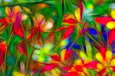 Impressionism Digital Art - Columbines - 2 by Jean-Marc Lacombe