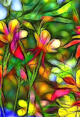 Cafeart Digital Art - Columbines by Jean-Marc Lacombe