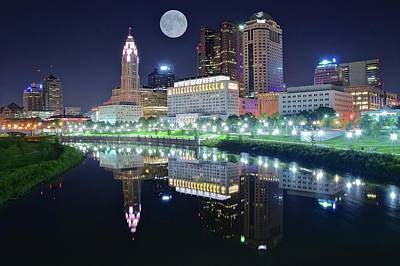Photograph - Columbus 2017 Riverfront Moon by Frozen in Time Fine Art Photography