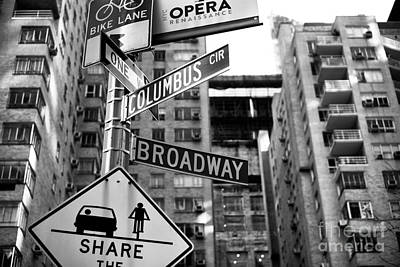 Columbus And Broadway Art Print by John Rizzuto