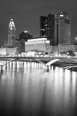 Photograph - Columbus Black And White City Skyline by Gregory Ballos