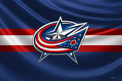 Digital Art - Columbus Blue Jackets - 3 D Badge Over Silk Flag by Serge Averbukh