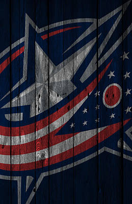 Digital Art - Columbus Blue Jackets Wood Fence by Joe Hamilton