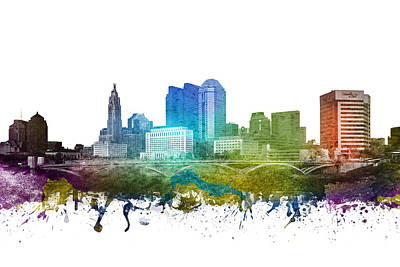 Usa Drawing - Columbus Cityscape 01 by Aged Pixel