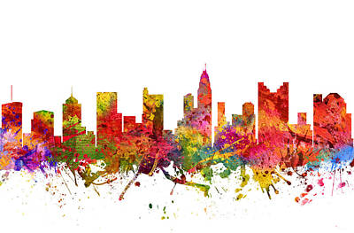 Ohio Painting - Columbus Cityscape 08 by Aged Pixel