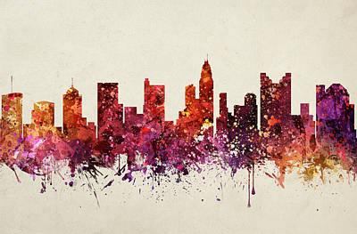 Ohio Painting - Columbus Cityscape 09 by Aged Pixel