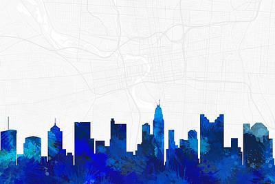 City Map Digital Art - Columbus Cityscape And Streetmap Blue Skyline by Jurq Studio