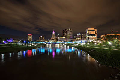 Photograph - Columbus Cityscape At Night by John McGraw