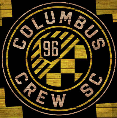 Mixed Media - Columbus Crew Wood Door by Dan Sproul