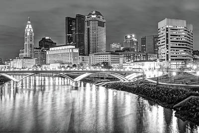 Photograph - Columbus Downtown Skyline At Night - Ohio - Black And White by Gregory Ballos