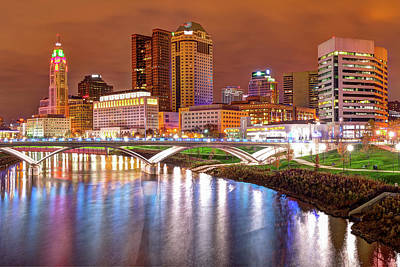 Photograph - Columbus Downtown Skyline At Night - Ohio by Gregory Ballos
