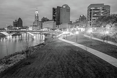 Photograph - Columbus Downtown Skyline In Winter - Black And White by Gregory Ballos