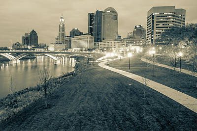 Photograph - Columbus Downtown Skyline In Winter - Sepia by Gregory Ballos
