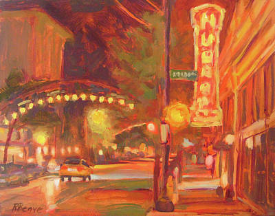 Columbus Glowing In The Night Art Print by Robie Benve