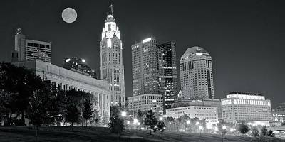 Photograph - Columbus Grayscale Nightscape by Frozen in Time Fine Art Photography