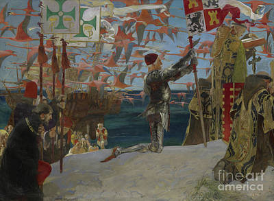Sea Birds Painting - Columbus In The New World by Edwin Austin Abbey