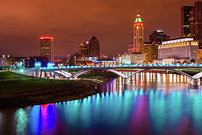 Photograph - Columbus Lights And Night City Scene by Gregory Ballos