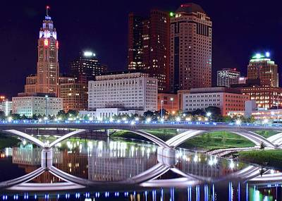 Columbus Night On The Scioto River Art Print by Frozen in Time Fine Art Photography