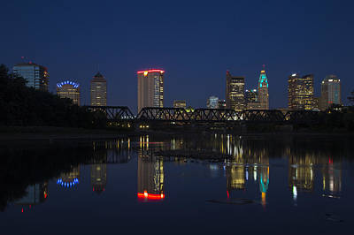 Photograph - Columbus Night Reflection by Alan Raasch