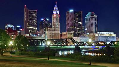Photograph - Columbus Night Time View by Frozen in Time Fine Art Photography