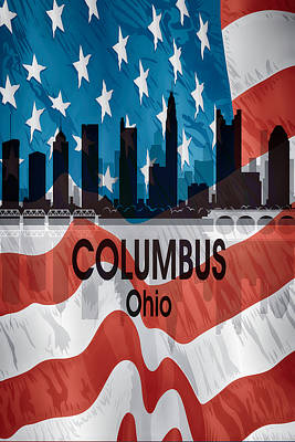 Digital Art - Columbus Oh American Flag Vertical by Angelina Vick