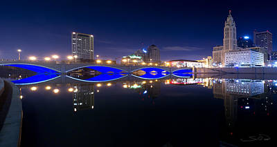 Photograph - Columbus Oh Blue Bridge Reflections by Shane Psaltis