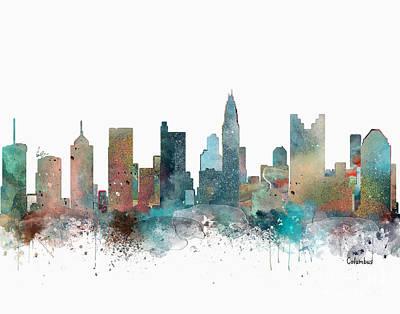 Ohio Painting - Columbus Ohio City Skyline  by Bri B