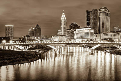 Photograph - Columbus Ohio Downtown City Skyline - Sepia Edition by Gregory Ballos
