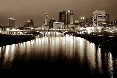 Photograph - Columbus Ohio Downtown Skyline At Night - Sepia Edition by Gregory Ballos
