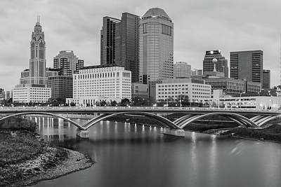 Photograph - Columbus Ohio Downtown Skyline Black And White by Gregory Ballos